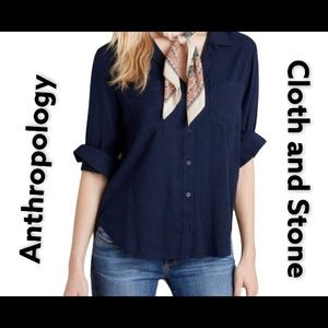 Anthropology Clloth and Stone Button up Navy top